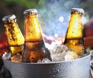 Iced cooled beer in a bucket